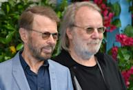 "Bjorn Ulvaeus and Benny Andersson, shown here on the red carpet for the world premiere of the film ""Mamma Mia! Here We Go Again"" in London on July 16, 2018, are the songwriters behind many ABBA megahits"