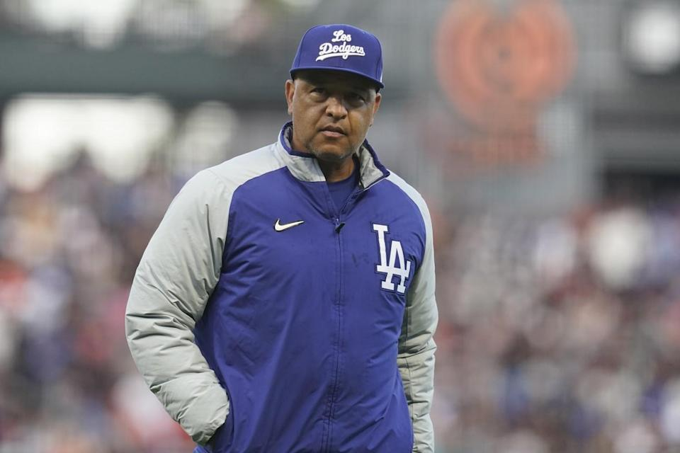 Dodgers manager Dave Roberts against the Giants during a game in San Francisco on Sept. 5, 2021.
