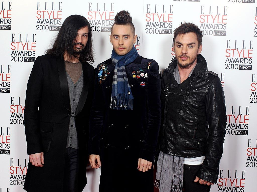 """Claire's former """"My So Called Life"""" co-star, Jared Leto (with his 30 Seconds to Mars bandmates), unveiled a new 'do at the event. Do you think the mohawk is an improvement over the pouf that Jared (aka Jordan Catalano) usually rocks? Mike Marsland/<a href=""""http://www.wireimage.com"""" target=""""new"""">WireImage.com</a> - February 22, 2010"""