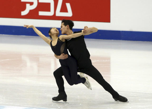 North Korea's figure skating pair of Ryom Tae Ok, left, and Kim Ju Sik perform during an official training session during the ISU Four Continents Figure Skating Championships in Taipei, Taiwan. (AP)