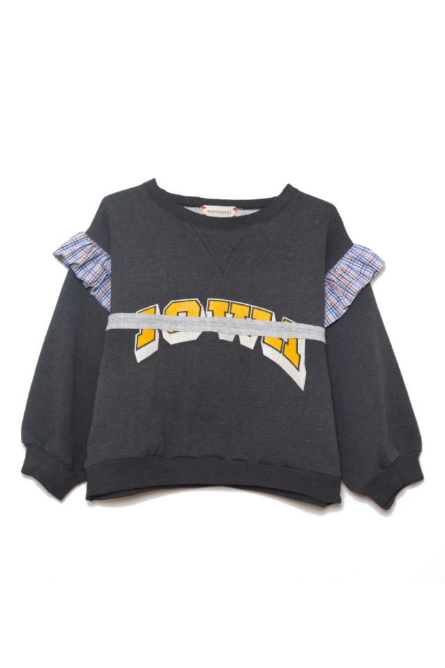 """<p><strong>Rentrayage</strong></p><p>rentrayage.com</p><p><strong>$325.00</strong></p><p><a href=""""https://rentrayage.com/products/grey-ruffle-embroidered-sweatshirt-m"""" rel=""""nofollow noopener"""" target=""""_blank"""" data-ylk=""""slk:SHOP IT"""" class=""""link rapid-noclick-resp"""">SHOP IT</a></p><p>Rentrayge's brand message is to keep it vintage and keep it local, but also keep it fresh by mixing textures and details, like on this old college crewneck.</p>"""