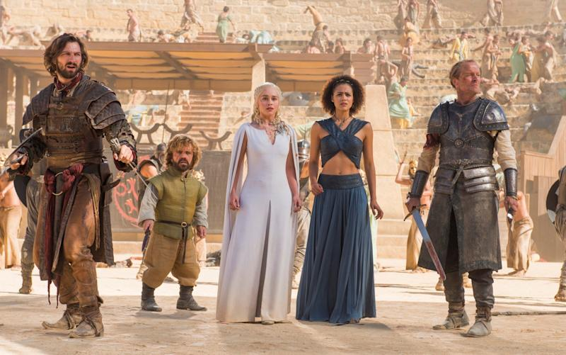 Emilia Clarke (centre), playing Daenerys Targaryen, has spent 7 seasons of Game of Thrones in the centre of the action - Home Box Office