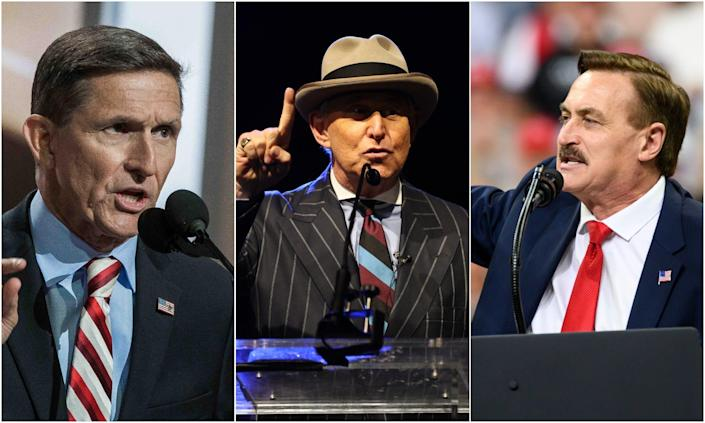 Michael Flynn (L), Roger stone (center) and Michael Lindell (R) are all charged to speak at & # x00201c; ReAwaken America & # x00201d ;. trip.