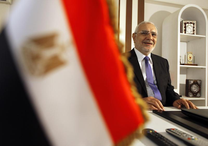 """Abdel-Moneim Aboul-Fotouh speaks during an interview with Associated Press at his home in Cairo, Egypt, Monday, Nov. 18, 2013. Egypt's reformist Islamist leader Aboul-Fotouh, who defected from the country's Muslim Brotherhood group and joined mass protests against the now ousted Islamist president Mohammed Morsi, says he was a """"failed"""" president whom people were able to overthrow but military coup and subsequent repression served the group well.(AP Photo/Amr Nabil)"""