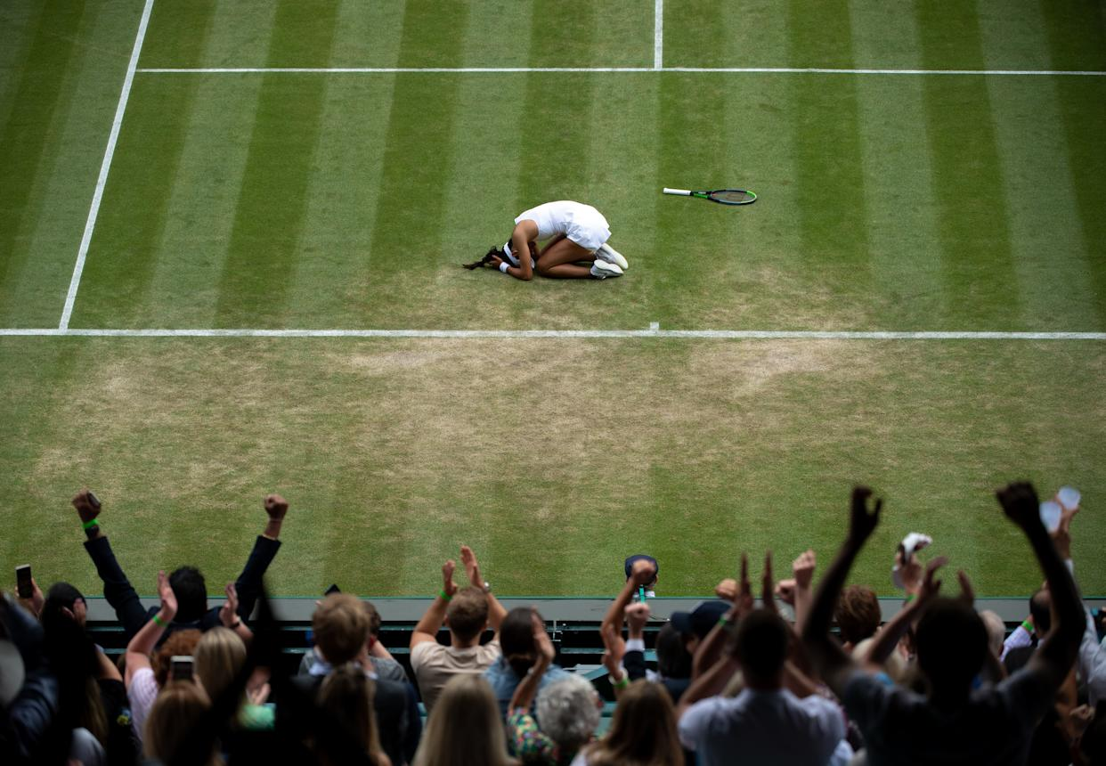 Emma Raducanu celebrates after defeating Sorana Cirstea in the third round of the Ladies' Singles on No.1 Court on day six of Wimbledon at The All England Lawn Tennis and Croquet Club, Wimbledon. Picture date: Saturday July 3, 2021.