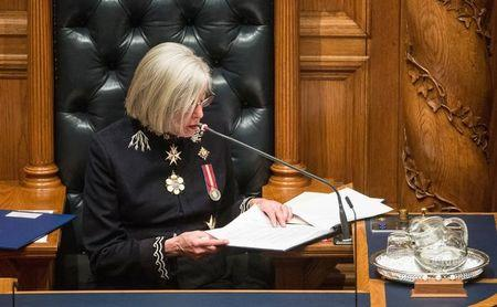 Lieutenant-Governor Judith Guichon reads the speech from the throne at the B.C. legislature buildings in Victoria