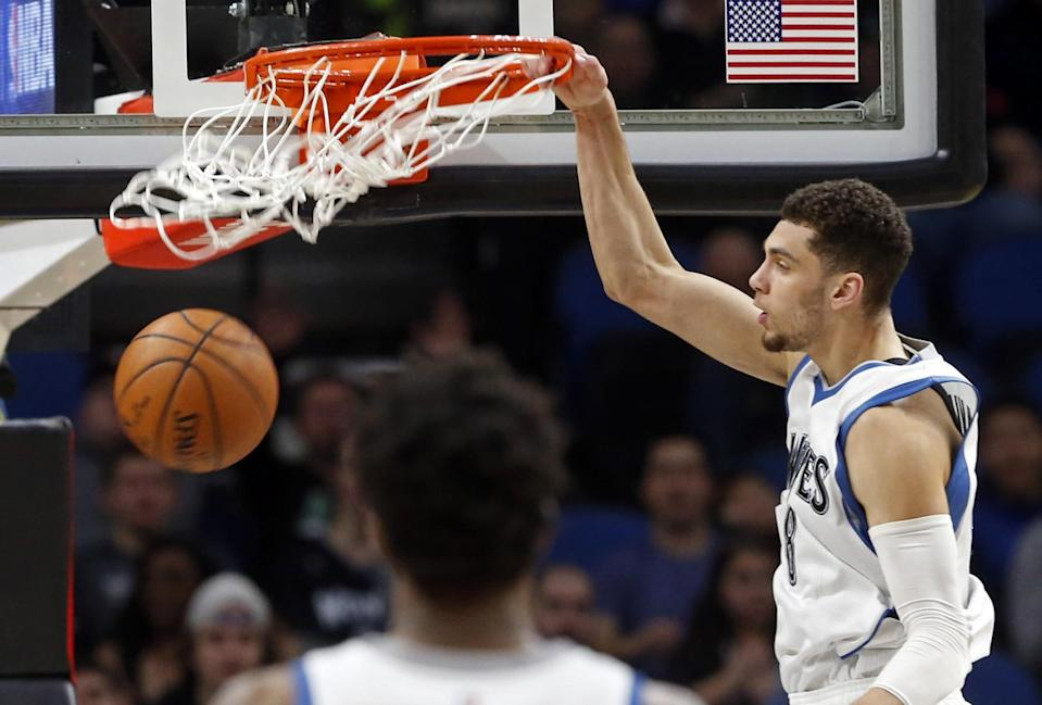 Zach LaVine, recovering from right ACL surgery in mid-February, is eligible for a rookie extension. (AP)
