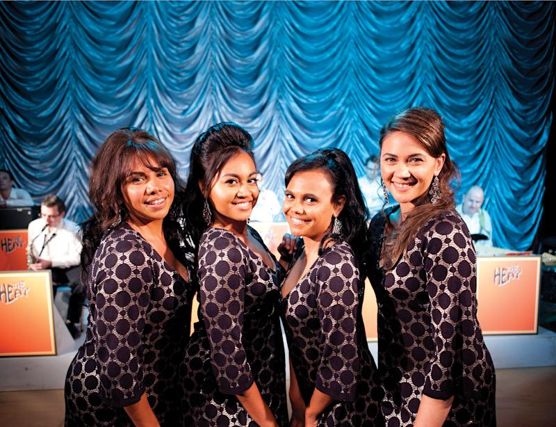 """This film publicity image released by The Weinstein Company shows, from left, Deborah Mailman as Gail, Jessica Mauboy as Julie, Miranda Tapsell as Cynthia, and Shari Sebbens as Kay from """"The Sapphires."""" (AP Photo/The Weinstein Company, Lisa Tomasetti)"""