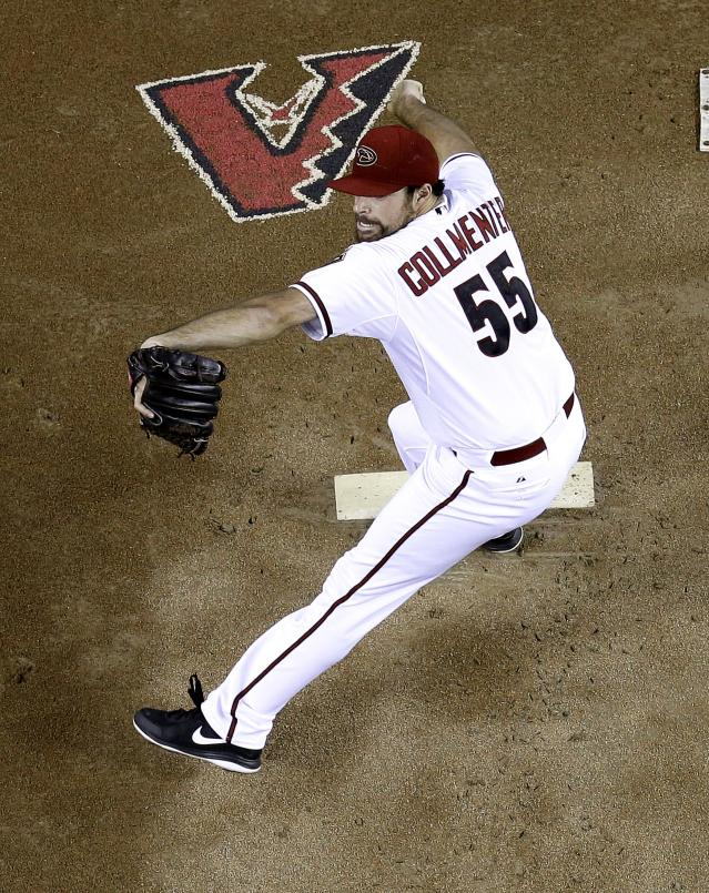 Arizona Diamondbacks pitcher Josh Collmenter throws against the San Francisco Giants during the first inning of a baseball game on Friday, June 20, 2014, in Phoenix. (AP Photo/Matt York)