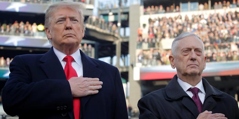 U.S. President Donald Trump and U.S. Defense Secretary Jim Mattis attend the 119th Army-Navy football game at Lincoln Financial Field in Philadelphia, Pennsylvania, U.S. December 8, 2018. REUTERS/Jim Young