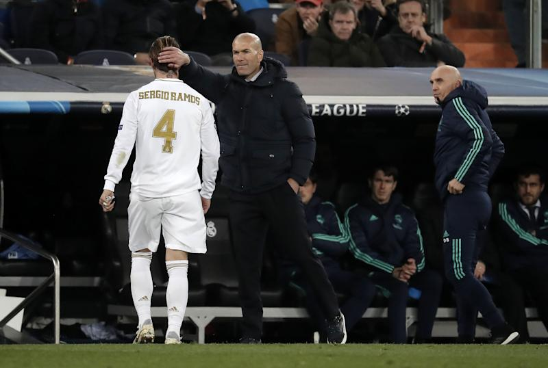MADRID, SPAIN - FEBRUARY 26: Sergio Ramos of Real Madrid leaves the pitch after being shown red card during the UEFA Champions League round of 16 first leg soccer match between Real Madrid and Manchester City at Santiago Bernabeu in Madrid, Spain on February 26, 2020. (Photo by Burak Akbulut/Anadolu Agency via Getty Images)