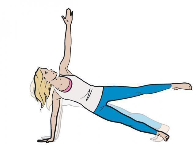 <p><strong>1/</strong> Assume the plank position before moving your weight and rotating your torso to right. Make sure to spread your the fingers of the hand on the ground, this will distribute the body's weight through the hands and fingers and protect the wrist.</p><p><strong>2/ </strong>Slowly lift your left hand to the sky before raising your left leg as high as you can and pulsing gently. Start with 10 seconds and work your way up to a minute on each side. </p>