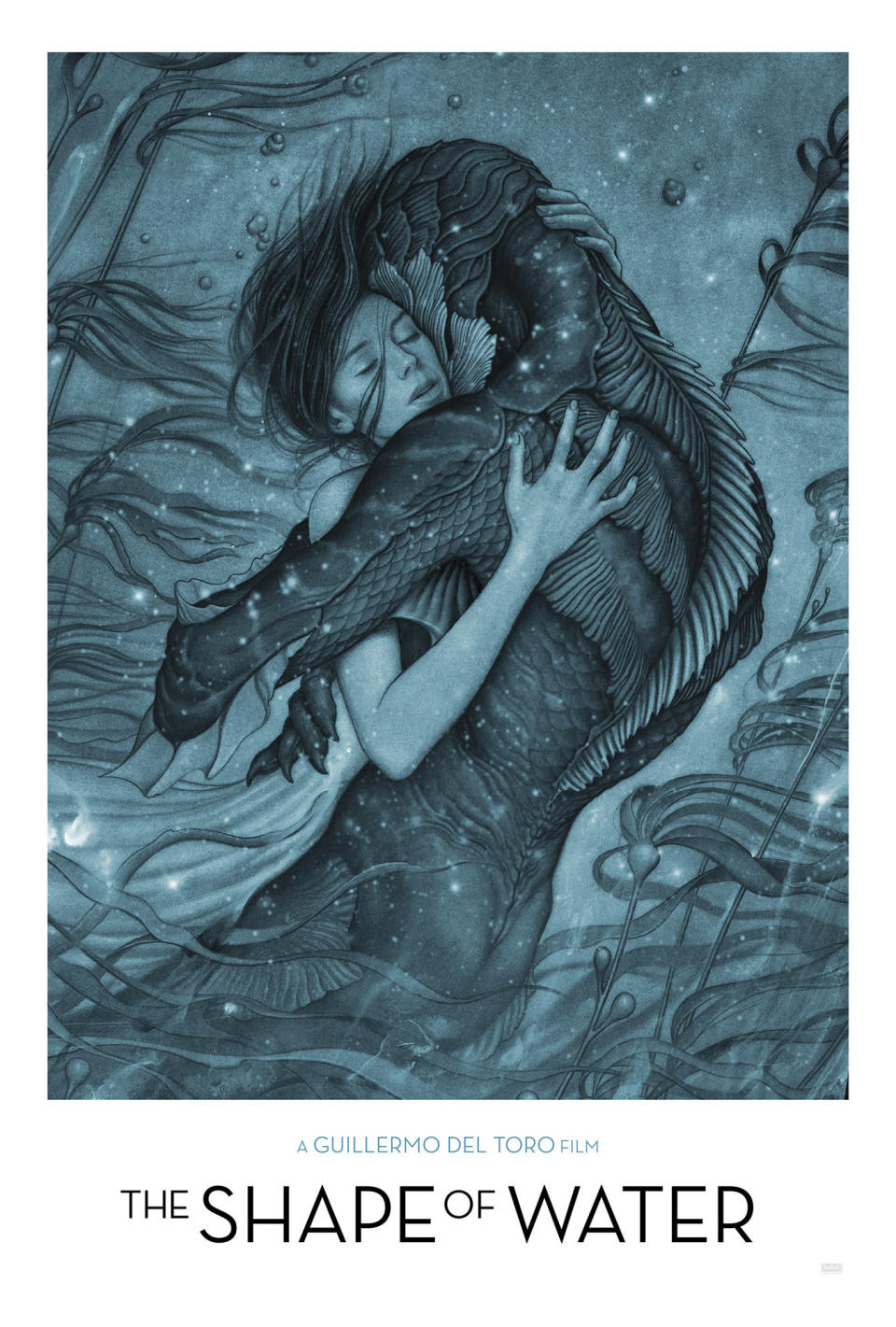 Elisa and the creature embrace in this stunning poster for <i>The Shape of Water</i> (Fox Searchlight)