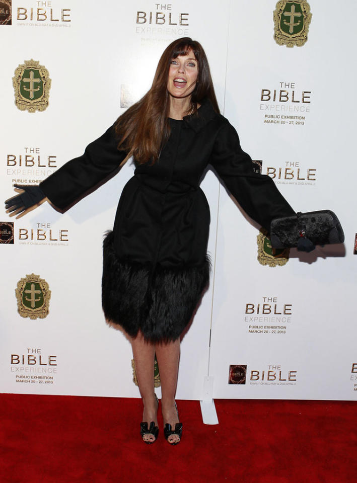 "Carol Alt arrives at ""The Bible Experience"" opening night gala, a rare exhibit of biblical artifacts, in New York City on Tuesday, March 19 in New York."
