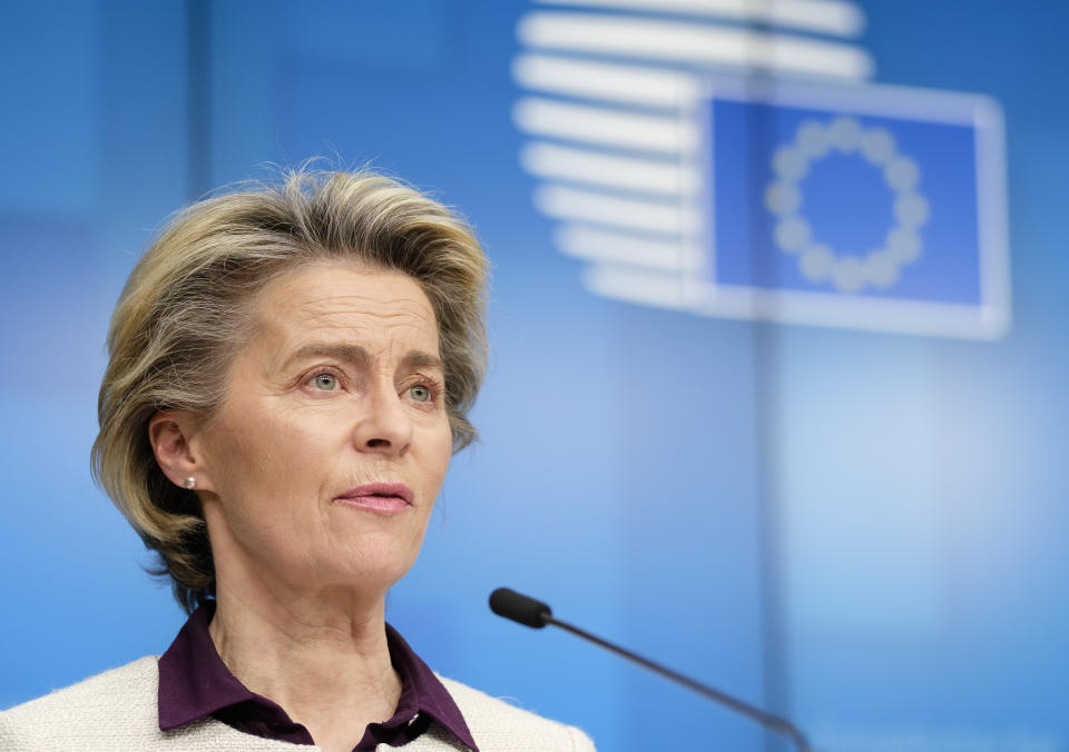 President of the European Commission, Ursula von der Leyen called on the contract between the bloc and AstraZeneca to be published adding that the 'binding orders' are 'crystal clear.' Photo: Thierry Monasse/Getty Images