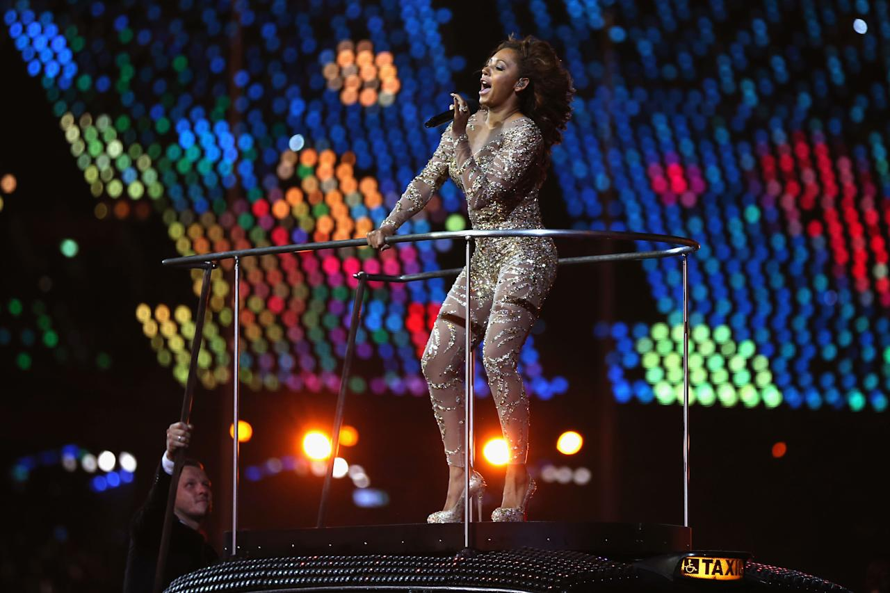 LONDON, ENGLAND - AUGUST 12:  Melanie Brown of The Spice Girls performs during the Closing Ceremony on Day 16 of the London 2012 Olympic Games at Olympic Stadium on August 12, 2012 in London, England.  (Photo by Hannah Johnston/Getty Images)