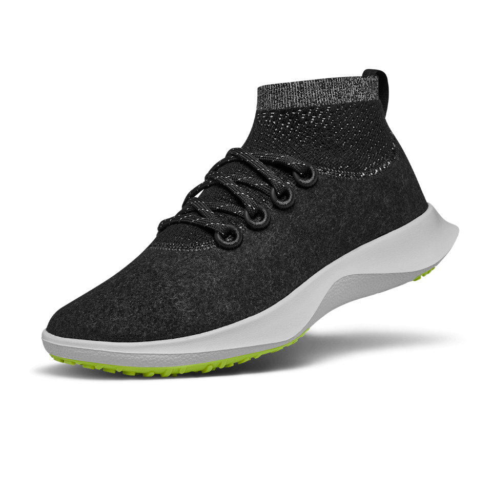 """<p><strong>AllBirds</strong></p><p>allbirds.com</p><p><strong>$145.00</strong></p><p><a href=""""https://go.redirectingat.com?id=74968X1596630&url=https%3A%2F%2Fwww.allbirds.com%2Fproducts%2Fwomens-wool-dasher-mizzles-mid&sref=https%3A%2F%2Fwww.womenshealthmag.com%2Ffitness%2Fg36063460%2Fbest-black-sneakers%2F"""" rel=""""nofollow noopener"""" target=""""_blank"""" data-ylk=""""slk:Shop Now"""" class=""""link rapid-noclick-resp"""">Shop Now</a></p><p>Unless you're in the biologically gifted minority, sweaty feet in your sneakers are a problem all of us suffer from. Allbirds signature ZQ merino wool fabric make their shoes extra breathable and they're sweat-wicking, too.</p>"""