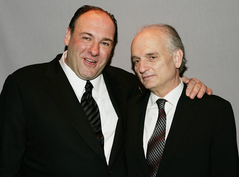 NEW YORK - MARCH 27:  (L-R) Actor James Gandolfini and creator and executive producer David Chase attend the HBO premiere after party for