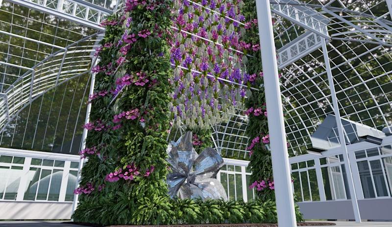 """A rendering of the sculpture at the entrance of """"The Orchid Show: Jeff Leatham's Kaleidoscope."""""""