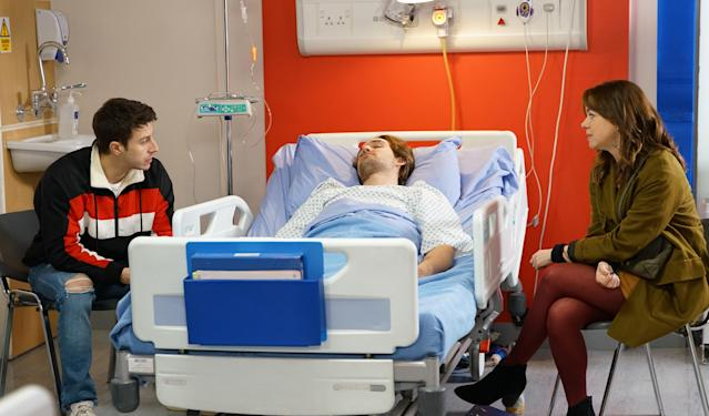 Maria Connor [SAMIA LONGCHAMBON] calls at the hospital for news of Ali Neeson [JAMES BURROWS]. An angry Ryan Connor [RYAN PRESCOTT] blames her for playing him off against Gary (ITV Plc)