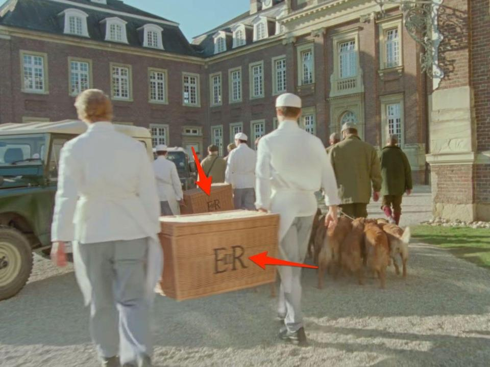 spencer trailer employees carrying basket into estate