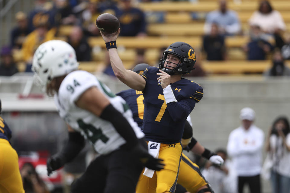 California quarterback Chase Garbers throws against Sacramento State during the first half of an NCAA college football game on Saturday, Sept. 18, 2021, in Berkeley, Calif. (AP Photo/Jed Jacobsohn)