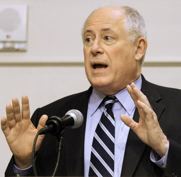Illinois Gov. Pat Quinn speaks to members of the Illinois Retail Merchants Association Wednesday, May 2, 2012 in Springfield, Ill. Quinn is asking business leaders to help him pass legislation that will mean pain for union members and poor families. (AP Photo/Seth Perlman)
