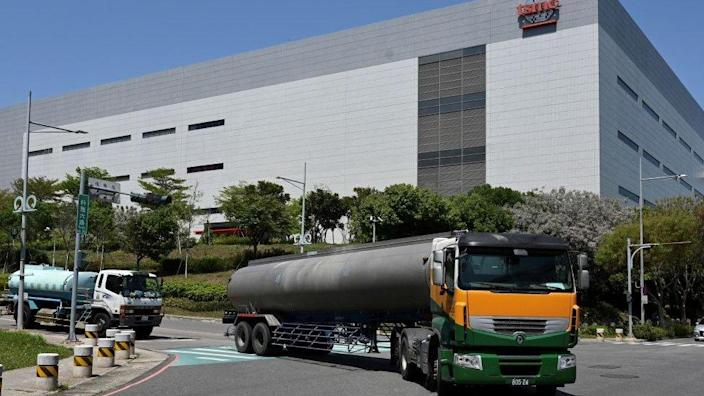Water truck arrives at TSMC factory in Taichung, central Taiwan