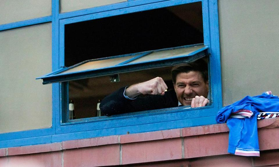 Steven Gerrard greeted celebrating Rangers fans through the window of the Ibrox dressing room after Saturday's 3-0 win against St Mirren