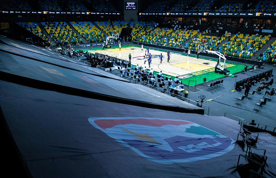 Photo taken on May 16, 2021 shows a view of the opening game of the the inaugural Basketball Africa League BAL between Patriots of Rwanda and Rivers Hoopers of Nigeria in Kigali, capital city of Rwanda, May 16, 2021. The professional league, taking place at Kigali Arena from May 16-30 under strict COVID-19 guidelines, is a partnership between the International Basketball Federation FIBA and the National Basketball Association NBA that features 12 club teams from across Africa. It also marks the NBA's first collaboration to operate a league outside North America. (Photo by Cyril Ndegeya/Xinhua via Getty Images)