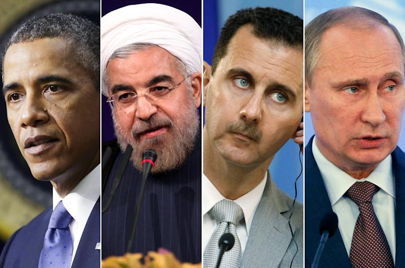 This combination made with file photos shows, from left, President Barack Obama, Iranian President Hasan Rouhani, Syrian President Bashar Assad, and Russian President Vladimir Putin. After years of estrangement, the United States and Russia are joined as partners in a bold plan to rid Syria of chemical weapons. More surprising yet, American and Iranian leaders _ after an exchange of courteous letters _ may meet in New York for the first time since the Islamic revolution swept Iran nearly 35 years ago. (AP File Photos)