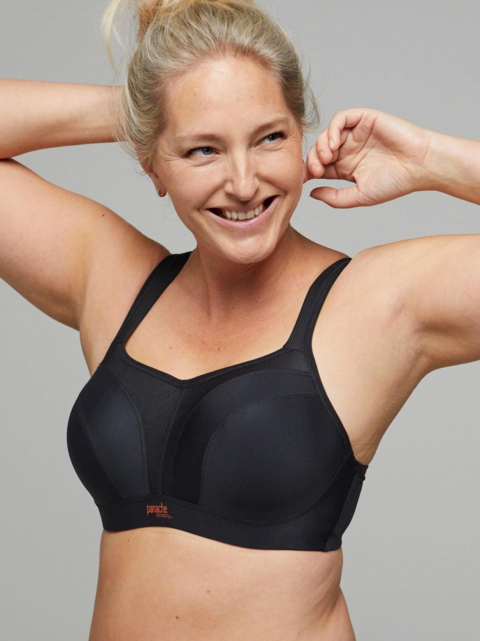 """<h2>Panache Sports Wired Bra</h2> <br>We've <a href=""""https://www.refinery29.com/en-us/best-high-impact-sports-bra"""" rel=""""nofollow noopener"""" target=""""_blank"""" data-ylk=""""slk:raved about this bra before"""" class=""""link rapid-noclick-resp"""">raved about this bra before</a>. It has an underwire, and it comes in sizes from B to J. We'll let a comment on that story speak for itself: """"I was hoping to see the Panache bra here, it's the only bra I could find with enough support for over an H cup. Plus it's convertible!!! I ended up buying their High Impact line in a few different colors 'cause they're cute as hell too.""""<br><br><strong>Panache</strong> Sports, $, available at <a href=""""https://go.skimresources.com/?id=30283X879131&url=https%3A%2F%2Fwww.panache-lingerie.com%2Fus%2Fshop%2Fproduct%2Fsports-full-cup%3Fcolour%3D013"""" rel=""""nofollow noopener"""" target=""""_blank"""" data-ylk=""""slk:Amazon"""" class=""""link rapid-noclick-resp"""">Amazon</a><br>"""