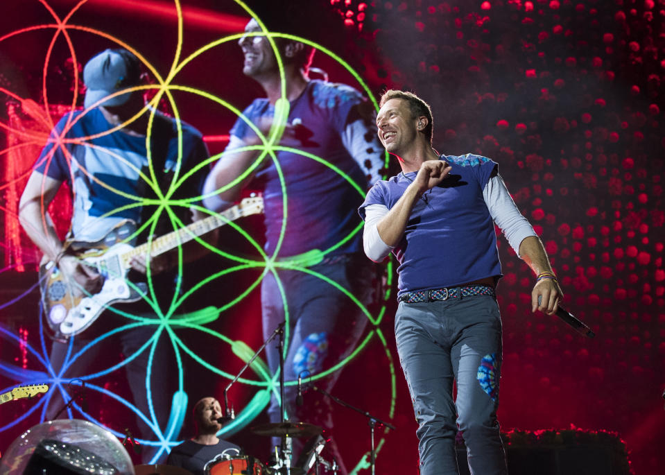 Chris Martin of Coldplay performs onstage at the Rogers Centre on Monday, August 21, 2017 in Toronto, Canada. (Photo by Arthur Mola/Invision/AP)