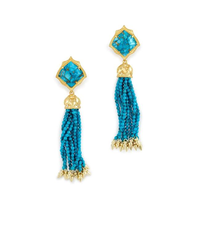 "<p>Kendra Scott Misha Statement Earrings in Bronze Veined Turquoise, $125, <a href=""https://www.kendrascott.com/on/demandware.store/Sites-KendraScott-Site/en_US/Product-Variation?pid=misha&dwvar_misha_stoneColor=486"" rel=""nofollow noopener"" target=""_blank"" data-ylk=""slk:kendrascott.com"" class=""link rapid-noclick-resp"">kendrascott.com</a><br> (Data: Long Tall Sally, Instagram) </p>"