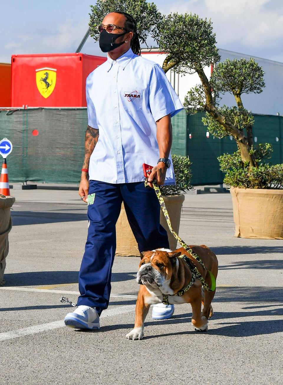 <p>Lewis Hamilton arrives with a pup at the Formula One Turkish Grand Prix at Istanbul Park on Wednesday in Istanbul, Turkey.</p>