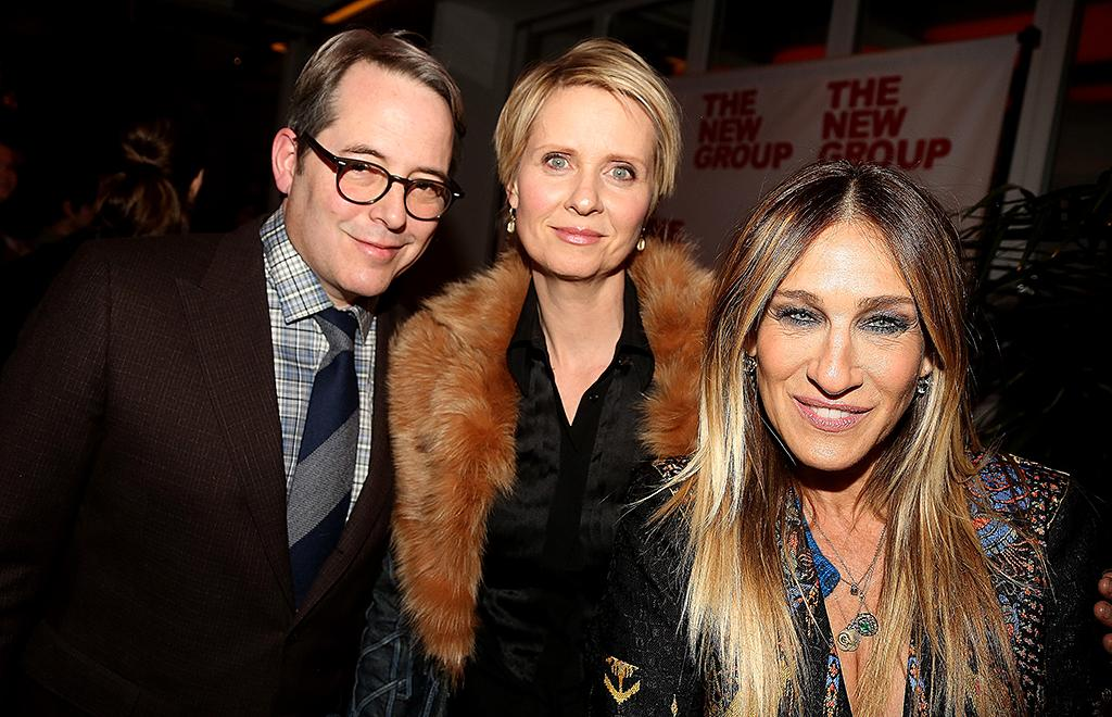 <p>Sarah Jessica Parker, accompanied by her husband, Matthew Broderick, met up with former <i>Sex and the City</i> co-star Cynthia Nixon at the opening night party for actor Wallace Shawn's new play. Shawn memorably guest-starred on the HBO show. (Photo: Bruce Glikas/Bruce Glikas/FilmMagic) </p>