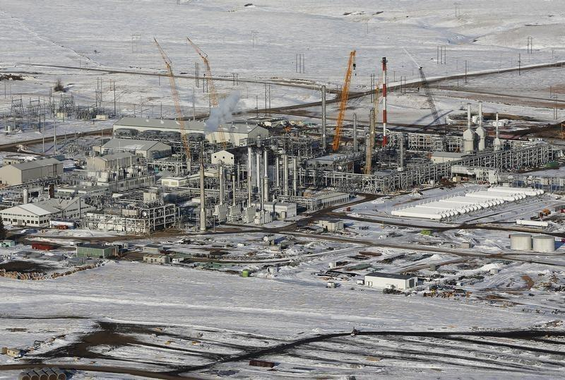Hess natural gas processing plant is seen outside of Williston, North Dakota