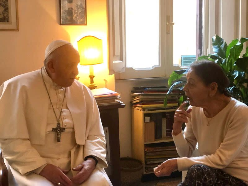 Poetess and Holocaust survivor, Edith Bruck, greets Pope Francis in Rome