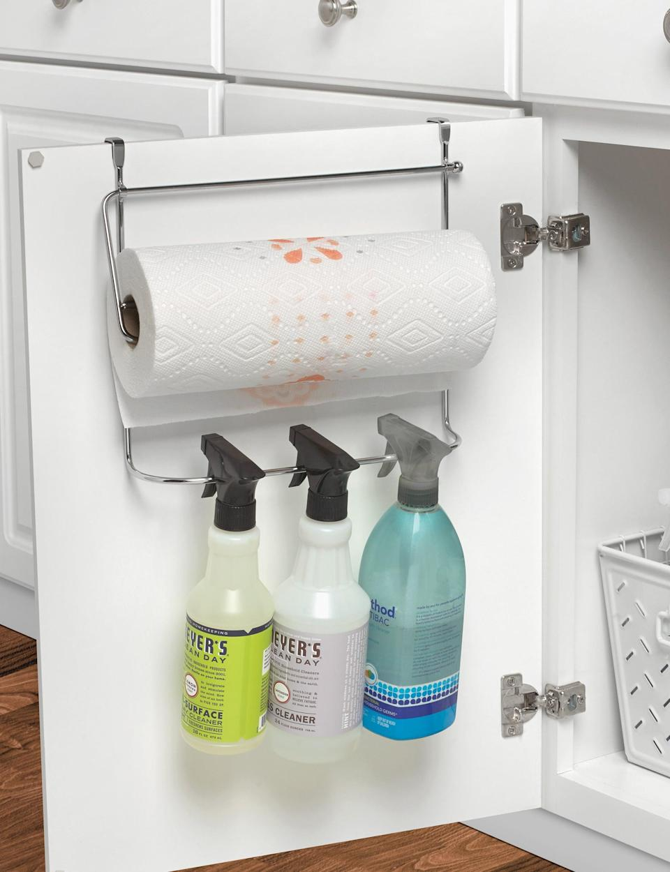 <p>Hang bottles from this useful <span>Rylie Cabinet Door Organizer</span> ($29).</p>