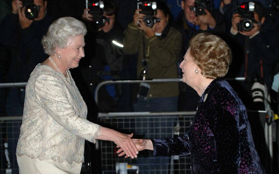 Reconciled: The Queen and Mrs Thatcher at the former PM's 80th birthday party - Paul Grover