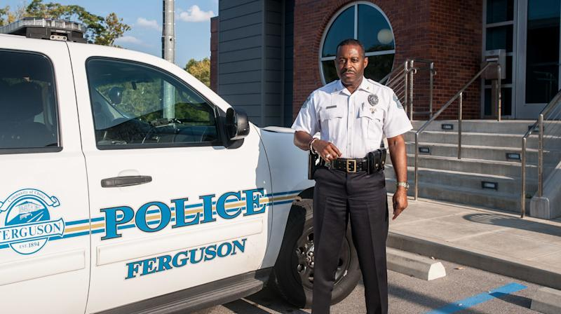 Ferguson Police Chief Delrish Moss outside of the Ferguson Police Department last month.