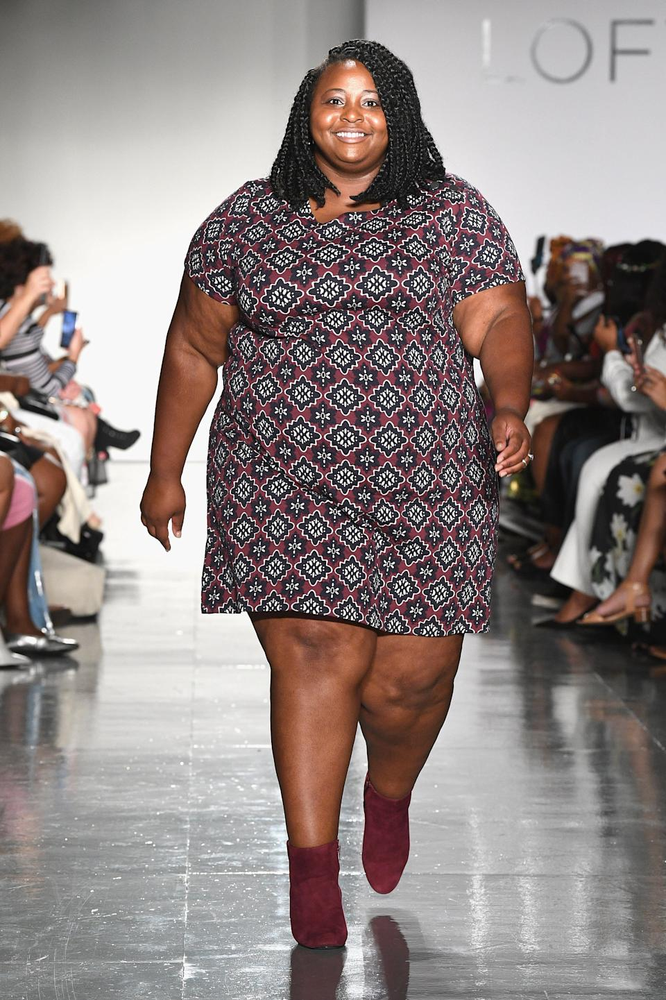 Ashley Wall walks the runway at the Loft Fashion Show during theCURVYcon Powered By Dia&Co (Getty Images).