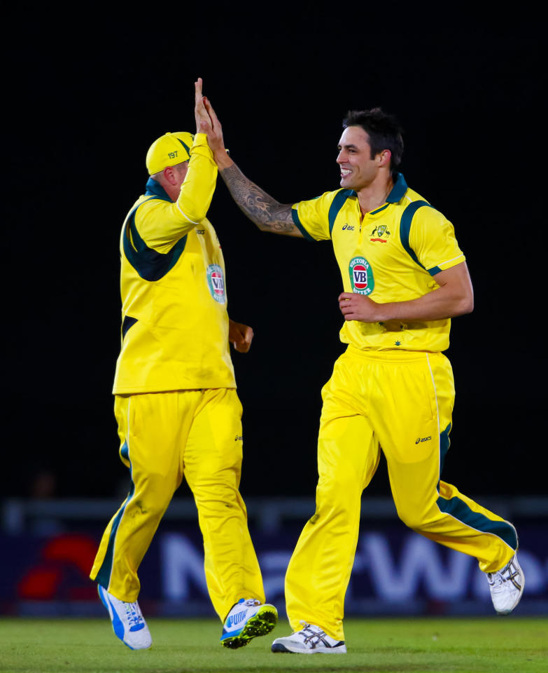Australia's Mitchell Johnson (right) celebrates the wicket of England's Ravi Bopara, caught by Adam Voges during the Fifth One Day International at the Ageas Bowl, Southampton.
