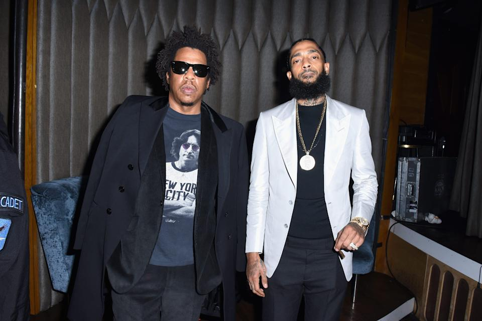 Jay-Z, left, and Nipsey Hussle attend the PUMA x Nipsey Hussle 2019 Grammy Nomination Party at The Peppermint Club on Jan. 16, 2019, in Los Angeles.