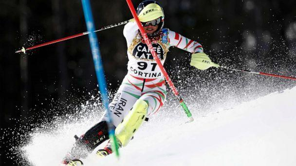 PHOTO: Iran's Marjan Kalhor competes during a women's slalom, at the alpine ski World Championships in Cortina d'Ampezzo, Italy, Feb. 20, 2021. (Gabriele Facciotti/AP)