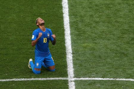 Brazil's Neymar celebrates after the match. REUTERS/Lee Smith