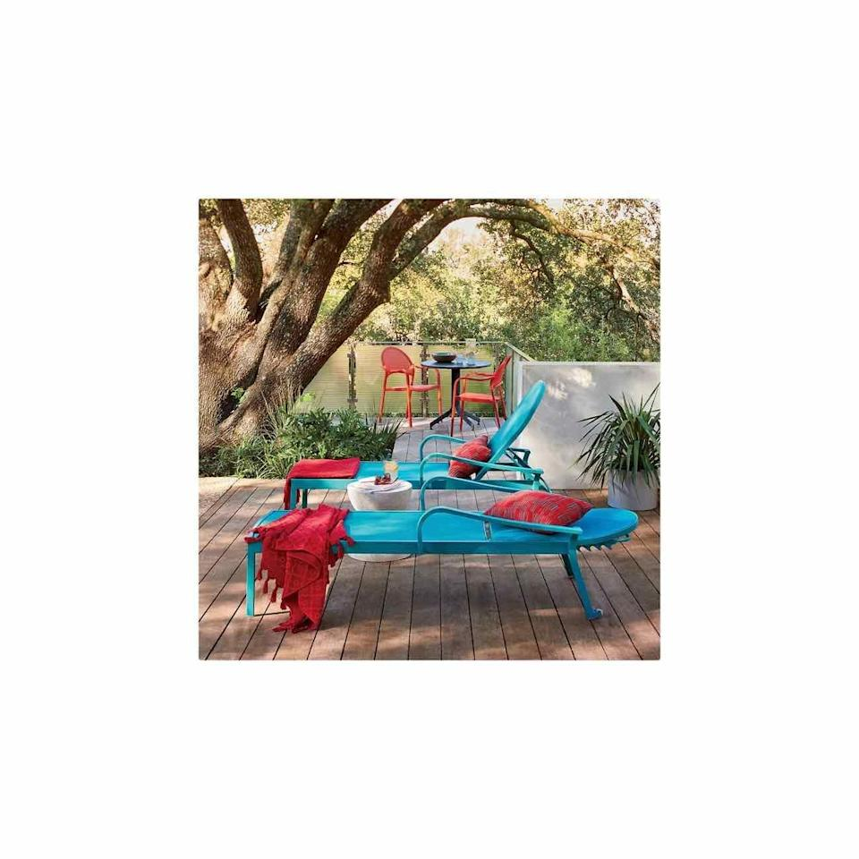 """<p><strong>Crate & Barrel</strong></p><p>crateandbarrel.com</p><p><strong>$499.00</strong></p><p><a href=""""https://go.redirectingat.com?id=74968X1596630&url=https%3A%2F%2Fwww.crateandbarrel.com%2Flanai-aqua-mesh-chaise-lounge%2Fs152026&sref=https%3A%2F%2Fwww.oprahdaily.com%2Flife%2Fg36661332%2Fbest-pool-lounge-chair%2F"""" rel=""""nofollow noopener"""" target=""""_blank"""" data-ylk=""""slk:SHOP NOW"""" class=""""link rapid-noclick-resp"""">SHOP NOW</a></p><p>To make your outdoor space really pop, trade your traditional mesh lounger for one in a poppy teal or red hue. </p>"""