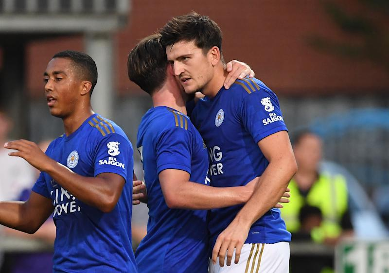 Leicester City's Harry Maguire celebrates scoring the opening goal during the pre-season friendly match at the Abbey Stadium, Cambridge. (Photo by Joe Giddens/PA Images via Getty Images)