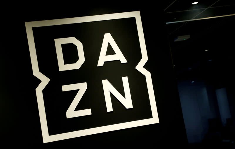 FILE PHOTO: Internet streaming service DAZN's logo is pictured in its office in Tokyo