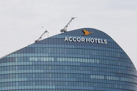 The logo of French hotel operator AccorHotels is seen on top of the building company's headquarters in Issy-les-Moulineaux near Paris
